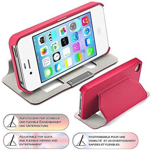 iPhone 4S Hülle Weiß mit Sicht-Fenster [OneFlow Window Cover] Schutzhülle Ultra-Slim Handyhülle für iPhone 4/4S Case Flip Handy-Tasche Stand-Funktion PINK