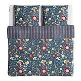 Ikea Rosenrips Bettwäscheset, 2-teilig, blau, gemuster 240 x 220 cm / 80 x 80 cm
