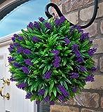 Best Artificial 30cm Purple Lush Lavender Long Leaf Topiary Grass Ball
