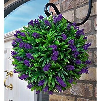 Best Artificial Purple Lavender Lush Long Leaf Flower Topiary Ball (30cm)