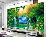 Hhcyy 3D Papel Pintado Papel Pintado Decorativo De Alto Nivel Personalizado Fondo De Pantalla De Fondo De Alces De Bambú Verde Esmeralda 3D Para Paredes 3 D-450Cmx300Cm