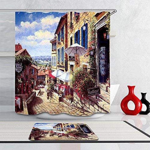 Tang Moine3D Weinleseart-Digitaldruck Mittelmeerdusche Wasserbeständiger Und Anti-Schimmel-Duschvorhang,B-200*180cm