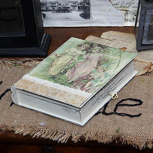 Vintage Holz-Buchsafe, 21,5x17 cm, Landhaus Shabby Buchtresor Buch Holzkiste Schatulle Kasten Holzschatulle Nostalgie