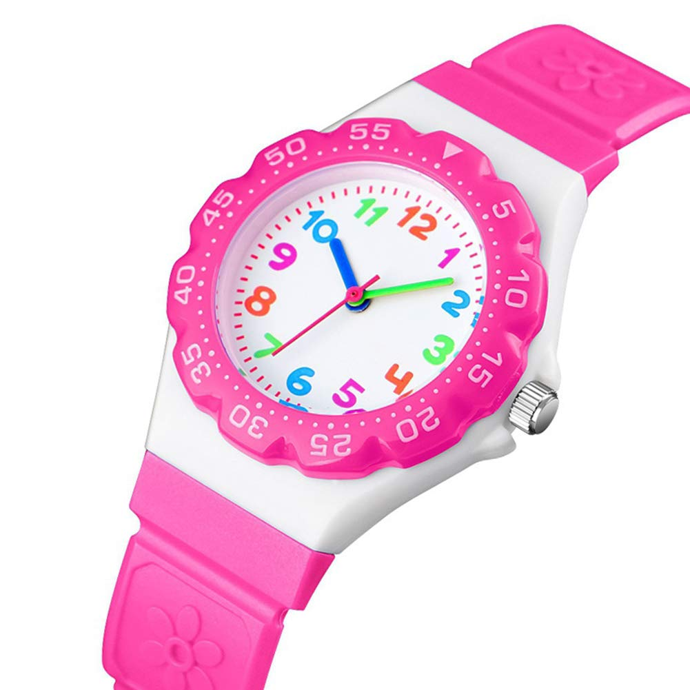 VDSOW Girls Analogue Quartz Watch, Daily Waterproof Kids Time Teacher Watches, Pink Children Outdoor Sports Wrist Watch with Rotatable Compass for Girl