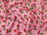 Baumwoll-Popelin-Stoff, Kirschen-Motiv, Meterware, Pink