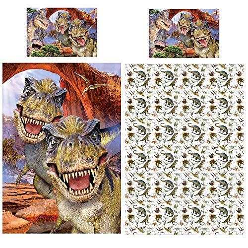 Selfies Dino Bettwäsche-Set Dinosaurier World T Rex Jurassic, Bettbezug Einzelbett