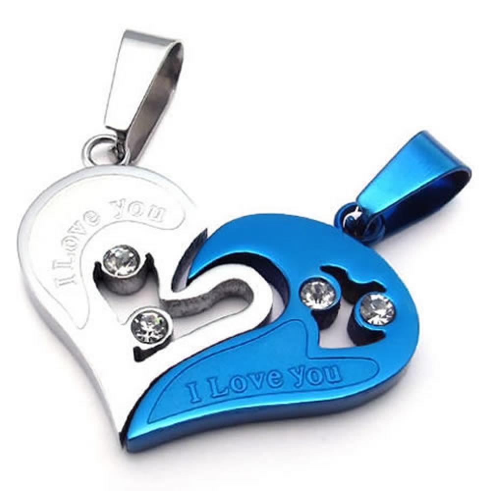 KONOV Schmuck 2 Freundschaftsketten Herz Edelstahl Partner-Anhänger mit 45cm und 55cm Kette, Halskette für Damen & Herren, Blau Silber