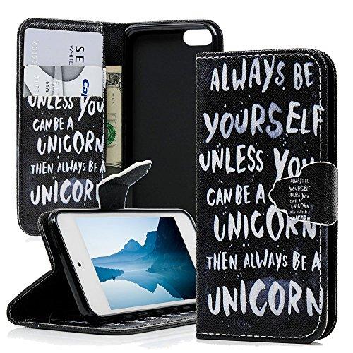 mollycoocle iPod Touch 5Schutzhülle, Weiß Words Geldbörse Fall Kreditkarte Slots Weichen TPU Inneren Bumper Schwarz Premium PU Leder-Schutzhülle für iPod Touch 5mit Elefant Staub Plug