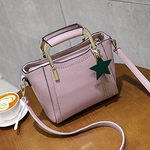 YTTY Damen Tasche Mode Nieten Flügel Tasche Quaste Handtasche Wilde Schulter Messenger Bag, Rosa