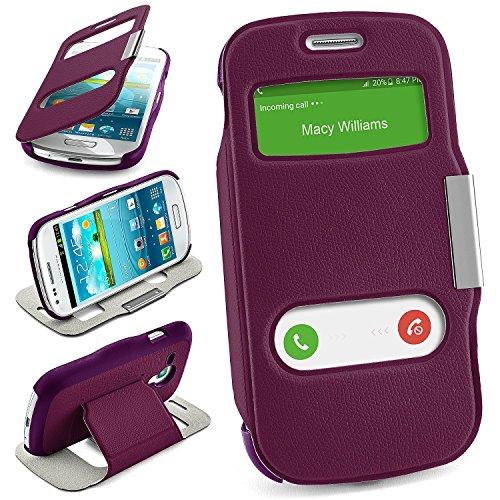 moex Samsung Galaxy S3 Mini | Hülle Lila mit Sicht-Fenster Window Cover Schutzhülle Ultra-Slim Handyhülle für Samsung Galaxy S3 Mini S III Case Flip Handy-Tasche Stand-Funktion (Top-handys)