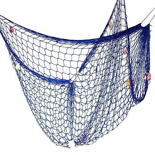 SECOWEL Deko Fischernetz Maritime Dekoration Fotografie Prop mit Farbigen Muscheln Mediterranen Stil Fischerei Dekorative Netze Blau (150 x 200 cm)