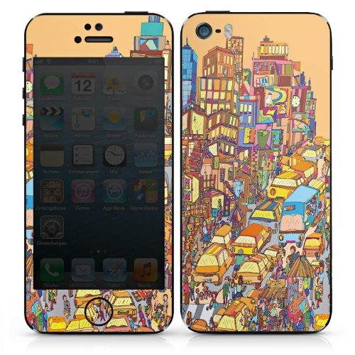 Apple iPhone SE Case Skin Sticker aus Vinyl-Folie Aufkleber New York Bunt Stadt DesignSkins® glänzend