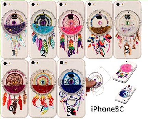 iPhone 5c Hülle Glitzer,TOYYM Transparent Klar Krystal Silikon TPU Handy Hülle Bling Flüssige Fließend 3D Dreamcatcher Muster Design,[Shock-proof] Bumper Glitter Case Cover Handytasche Schale Etui Sch Gold