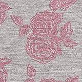 Jersey-Stoff mit Viskoseanteil Rosen grau meliert rosa 1,5m