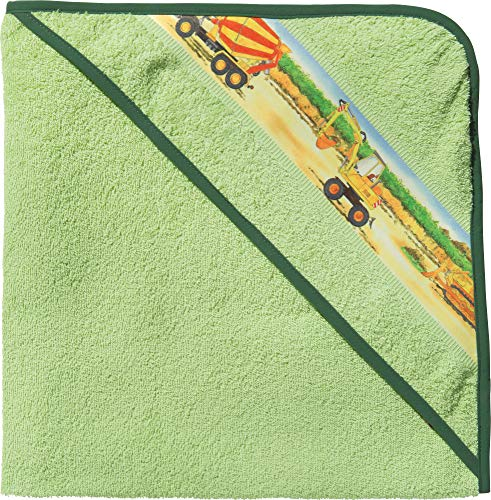 Erwin Müller Kinder-Kapuzenbadetuch, Kapuzenhandtuch Frottier Traktor, Bagger grün Größe 140x140 cm - 100{38e9511dd0d217926f98f0e962d0fb0c176f2e38f603b23b5b5685bbdd54978f} Baumwolle, mit Webbordüre