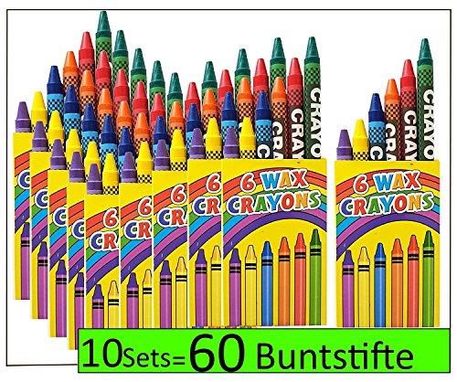 10 Sets 6er Wachsmalstifte crayons Wachsmalkreide für Kinderparty Hochzeit Kindergeburtstag Geschenk bunte Farben