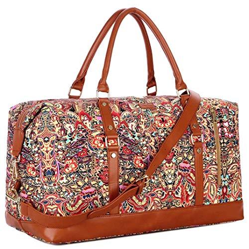 BAOSHA Handgepäck Reisetasche Sporttasche Weekender Tasche für Kurze Reise am Wochenend Urlaub Arbeitstasche HB14 (Flower)