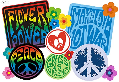Make Love Not War, Hippie Symbole, Vintage Autoaufkleber: Love and Peace 12