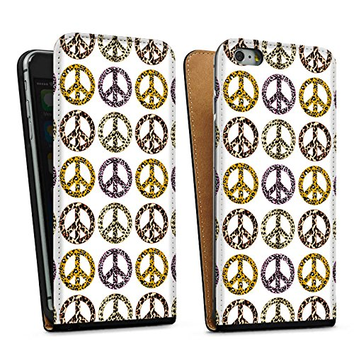Apple iPhone 5s Housse Étui Protection Coque Paix Peace Peace Sac Downflip noir