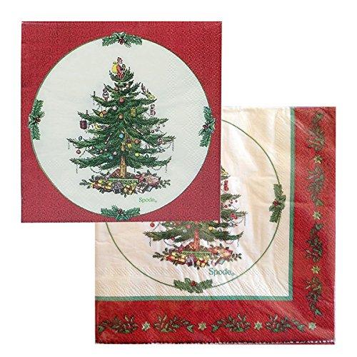 Spode Servietten-Set mit Weihnachtsbaum-Motiv, 80 Stück, je 40 Stück -