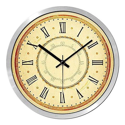 Horloge murale Horloge quartz silencieux, 12, le chiffre romain Silver