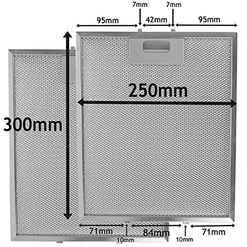 SPARES2GO Metallgitter Filter für Electrolux Dunstabzugshaube / Küche Sauglüfter Entlüftung (2 stück Filter, Silver, 300 x 250 mm) - Küche Dunstabzugshaube Entlüftung