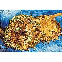 PaintingStudio Deux tournesols coupes par Vincent Van Gogh Peinture a l'huile de bricolage par des numeros photos imprimees sur toile 16x20 pouces (Encadre)
