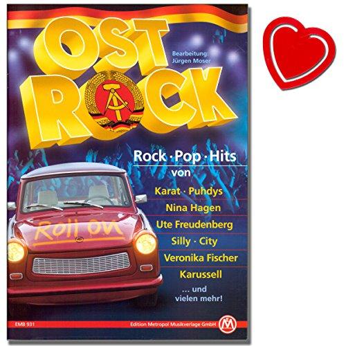 Ost Rock Songbook - Hits von Puhdys, Karussell,City, Karat, Elefant, Keimzeit, Silly, Tamara Danz, Electra, Jürgen Hart uvm ... - mit bunter herzförmiger Notenklammer