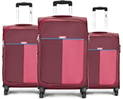 Safari Duo 4W 58 cm, 68 cm and 78 cm Red Softsided Luggage Combo of 3