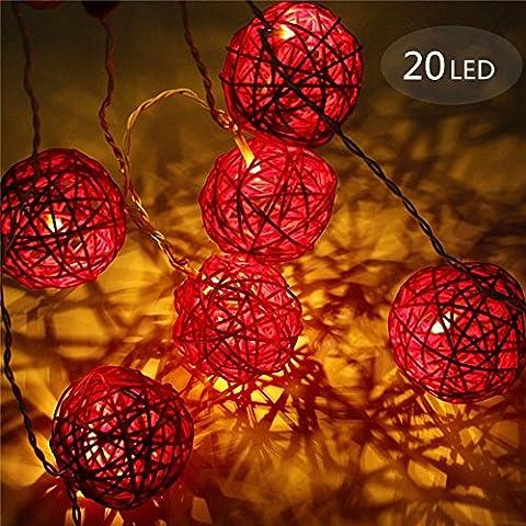 Kugel Lichterkette, Morbuy 2m Kugel Lichterkette 4cm Kugel 3AA Batterie 20 LED Lichterkette Festlich Hochzeiten Geburtstag Party Lichterketten (Rot)