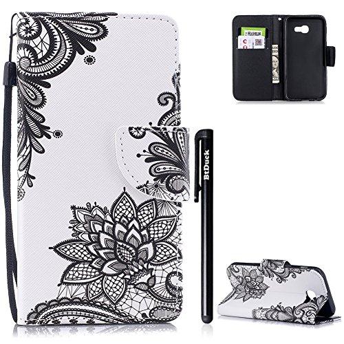 BtDuck Handyhülle Compatible for Samsung Galaxy A3 2017 Tasche Leder Schutzhülle A3 2017 Handytasche Magnetschnalle Ledertasche Hülle Lederhülle Kartenfächer Mandala