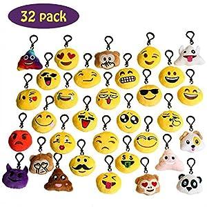 Mini Emoji Ornamenti,Emoji Portachiavi in Cotone Ottima fattura, morbidissimi e carinissimi Regalo popolare per i bambini 32PCS
