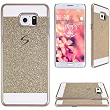 Galaxy S6 Edge Plus, para Samsung Galaxy S6 Edge Plus Funda Bling, Asnlove Funda de Bling Crystal Plástico PC Case Con Brillante Diamond Superior e Inferior Rigida Dura Policardonato Cover Goma Ultrafino Diseño Bling Case Protectora Tapa Trasera, Dorado