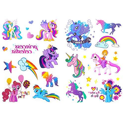 Einhorn & Regenbogen Sticker Tattoos mit Glitzereffekt - wunderschöne, farbenfrohe Einhörner & Regenbogen als temporäre Tattoos