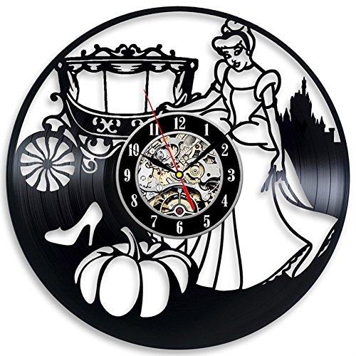 MFFACAI Schallplatte Wanduhr Aschenputtel Kristall Schuhe und Kürbis Wagen Wall Clock