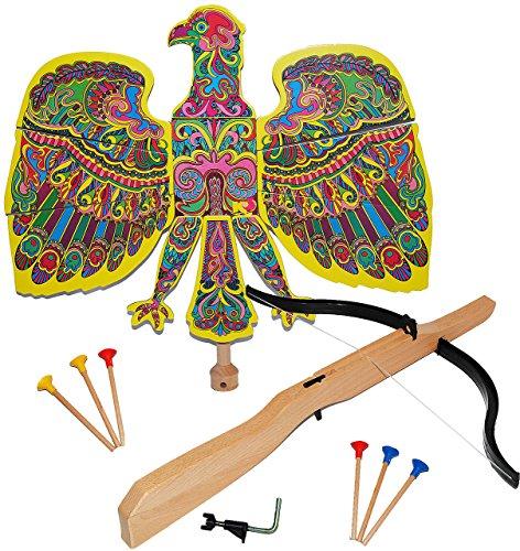 alles-meine.de GmbH Set : Vogelschießen - Bogenschießen - Vogel Adler bunt - 49 cm * 46 cm + Armbrust & Pfeile (Armbrust-teile)