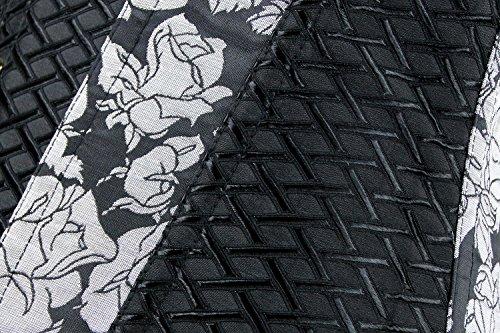 Charmian Women's Steampunk Retro Steel Boned Criss Cross Satin Overbust Corset Nero