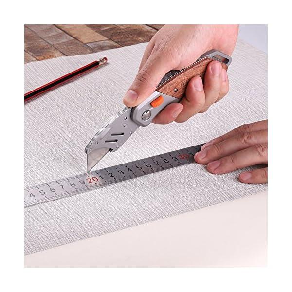 Coltello-Pieghevole-Cutter-Taglierino-in-Acciaio-Inox-con-5-Lame-di-Ricmabio-Tacklife-UKW03-Coltello-Pieghevole-per-Tagliare-Cartone-e-Cacciare