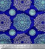 Soimoi Blau Poly Georgette Stoff Grün Mandala Stoff Drucke