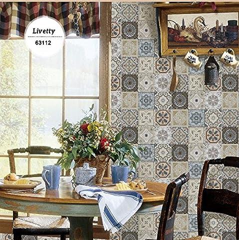Retro Brick Vinyl-Tapeten für Küche Geometrische Wandverkleidungen Wand-Papiere Home Decor Wohnzimmer Feuchtigkeits-Beweis-Murals Rolls ( Farbe : 63112 )
