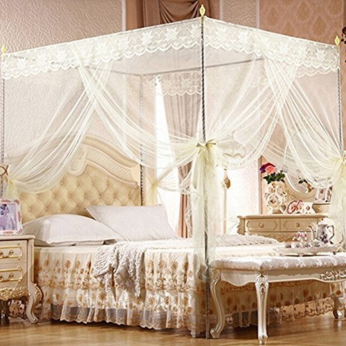 Bluelans® Baldachin Moskitonetz InsektenschutzFliegennetz Mückennetz für Doppelbetten und Einzelbetten (180*200cm, Beige) (Queen-baldachin-poster)