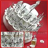 Struttura torta da 36 fette bianca e nastri bianchi in organza con statuine di sposini silver con pinzetta memoclip matrimonio anniversario TOPPER NON INCLUSO (con confetti bianchi)