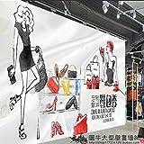 Aolomp Wallpaper Die trendige hand Cartoon Mädchen Mode Shop große Wandmalereien schuhe Paket 服 Hintergrundbild einkaufen Wallpaper für die Wände gemalt.