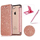 Coque iPhone 7/iPhone 8 Clapet,Herzzer Luxe Bling Paillettes PU Leather Housse Étui...