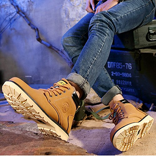 AARDIMI Herren Schneestiefel Männer Winterschuhe Warm Gefüttert Winter Outdoor Boots High Top Boots Kurzschaft Stiefel Martin Stiefel (Hersteller-Größentabelle IM Bild Beachten) Gelb