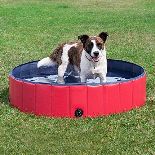 2-in-1 Hundepool, Hund Katze Pool, Faltbar Draussen Garten Schwimmbad for Haustiere und Hunde, Robust Nicht aufblasba, Haustier Pool Bade für Haustier Schwimmen Pool