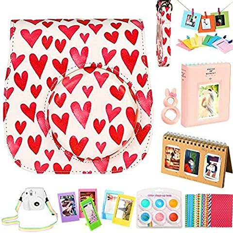 For Fujifilm Instax Mini 9/ 8/ 8+ Instant Camera Accessories Bundle, Pink Case/ 2 Mini Album/ Selfie Lens/ 6 Colors Filters/ Neck Strap/ Hang Frames/ Table Frames/ Stickers. By SAIKA (9 Pieces, Love Heart)
