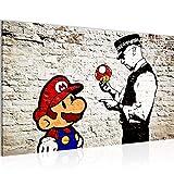 Tableau decoration murale Banksy - Super Mario Street Art 70 x 40 cm Toison - Toile Taille XXL Salon Appartement Décoration Photos d'art