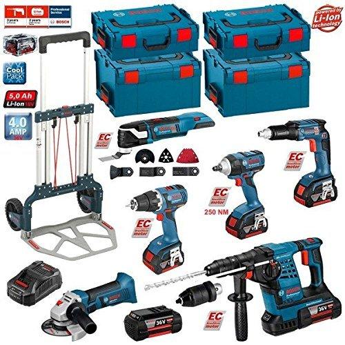 Preisvergleich Produktbild Kit Bosch RSL3618P3LE + Caddy (GBH 36 VF-LI Plus + GWS 18 V-LI + GSR 18 V-EC + GSR 18 V-EC TE + GDS 18 V-EC 250 + GOP 18 V-EC + Zubehör - GOP 18 V-EC + Ladegerät GAL3680CV + 3 Akkus 18V 5,0 Ah + 2 Akkus 36V 5,0 Ah + 2 x Koffer L-Boxx 136 + 2 x Koffer L-Boxx 238 + CADDY)