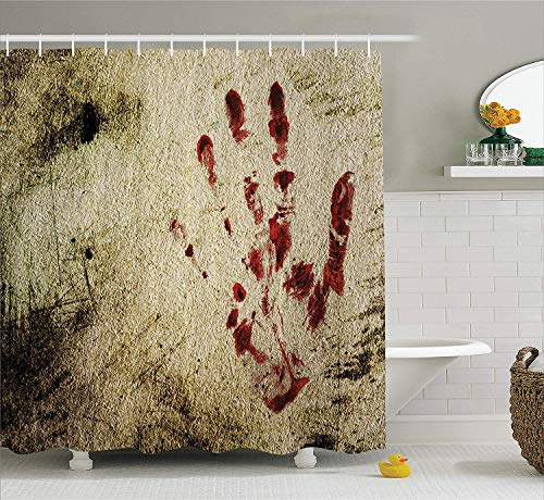 Decor Shower Curtain, Grunge Dirty Wall with Bloody Hand Print Murky Palm Trace Victim Violence, Fabric Bathroom Decor Set with Hooks, 60x72 Inches, Red Beige ()